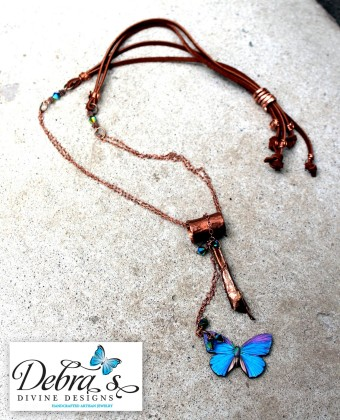copper suede crystal wood butterfly necklace swap