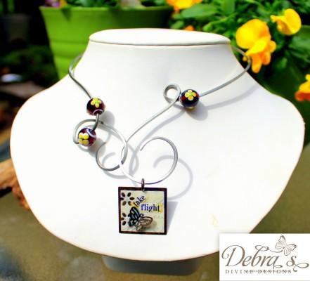 Lampwork bead stainless steel torc swap