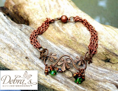 Vintage floral vine embellishment with swarovski beads and butterfly beads copper bracelet swap